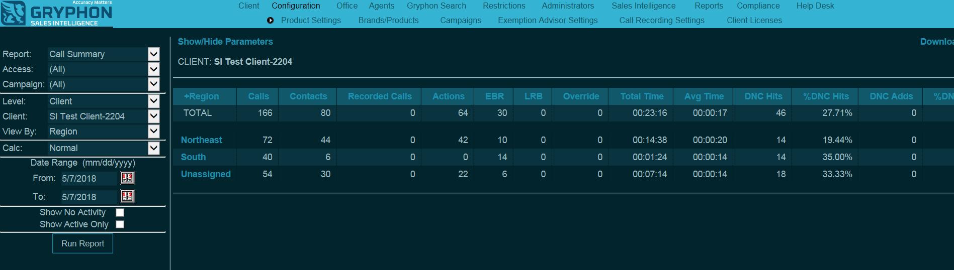 screenshot of a client audit